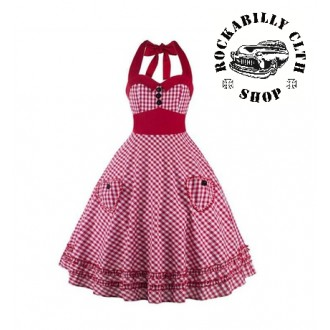 HOLKY / GIRLS - Šaty Rocka Barbara Cubed Swing Dress Pink