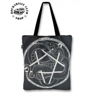 LIQUOR BRAND - Dámská taška retro rockabilly pin-up Liquor Brand Serpent Pentagram
