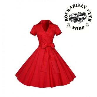 HOLKY / GIRLS - Šaty Rocka Polka Dot Short Sleeve Big Bow Red