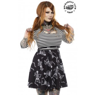 SOURPUSS - Dámské šaty Rockabilly Retro Pin Up Sourpuss Clothing Dancing Skeletons Scoop Dress