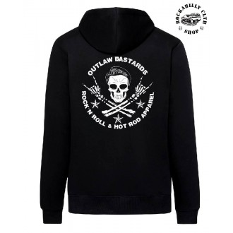 OUTLAW BASTARDS - Pánská mikina Outlaw Bastards Skull Hoodie Zipper