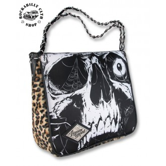 LIQUOR BRAND - Dámská taška kabelka retro rockabilly pin-up Liquor Brand Shoulder Chain Bag Skull