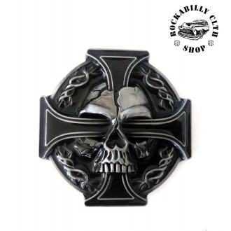 DOPLŇKY / ACCESSORIES - Přezka na pásek Rocka Skull Cross Buckle Blk