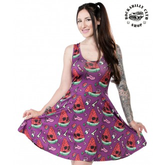 SOURPUSS - Dámské šaty Rockabilly Retro Pin Up Sourpuss Clothing Melon Head Skater Dress