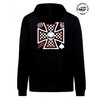 OUTLAW BASTARDS - Pánská mikina Outlaw Bastards Skull Cross  Hoodie Zipper
