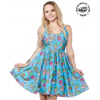 SOURPUSS - Dámské šaty Rockabilly Retro Pin Up Sourpuss Clothing Prickly Delights Sweets Dress