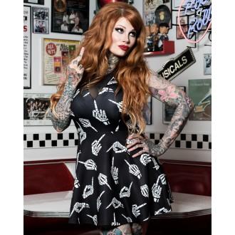 SOURPUSS - Dámské šaty Rockabilly Retro Pin Up Sourpuss Clothing No Bones V Neck Dress
