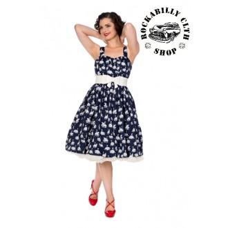HOLKY / GIRLS - Dámské šaty Rockabilly Retro Pin Up Banned Summer Swan Flare Dress Navy
