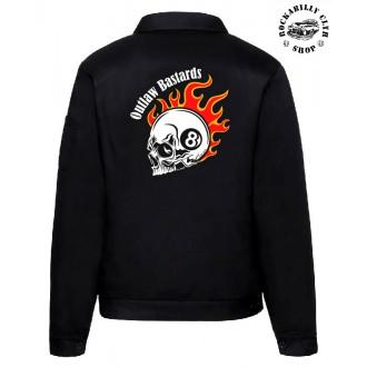 KLUCI / BOYS - Pánská bunda Outlaw Bastards 8ball Skull Jacket