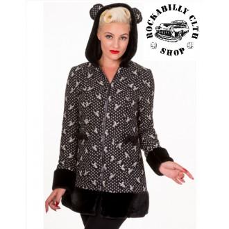HOLKY / GIRLS - Dámský kabát Rockabilly Retro Pin Up Banned Panda Ears Coat