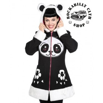 HOLKY / GIRLS - Dámský kabát Rockabilly Retro Pin-Up Banned Panda Face Coat