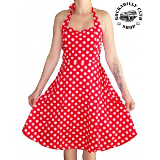 HOLKY / GIRLS - Šaty Rockabilly Retro Pin Up Barbara Polka Dot Red/Wht