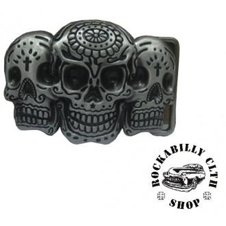 DOPLŇKY / ACCESSORIES - Přezka na pásek Rocka Three Skulls Buckle