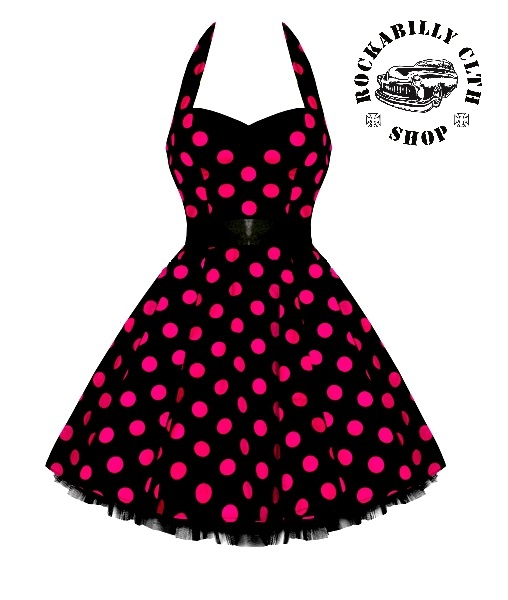 bb765f96f117 HOLKY   GIRLS - Šaty Rockabilly Retro Pin Up Barbara Polka Dot Blk Pink