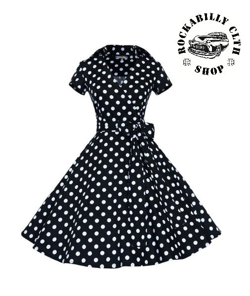 99932ad8e4bf HOLKY   GIRLS - Šaty Rockabilly Retro Pin Up Polka Dot Short Sleeve Big Bow  Black