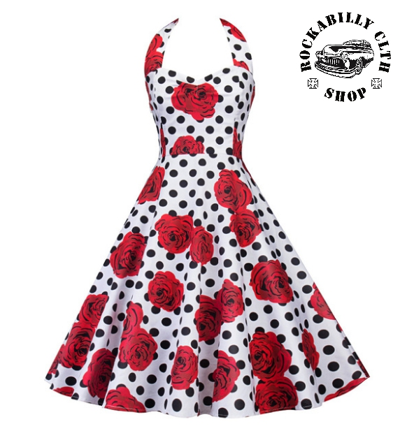 655440f21a37 HOLKY   GIRLS - Šaty Rockabilly Retro Pin Up Barbara Polka Dot   Roses Wht