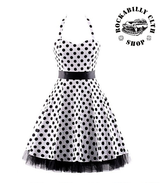 e0cc5f4b7260 HOLKY   GIRLS - Šaty Rockabilly Retro Pin Up Barbara Polka Dot White Blk