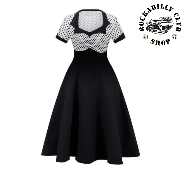 fd432cb76418 HOLKY   GIRLS - Šaty Rockabilly Retro Pin Up Polka Dot Short Sleeve Wht  Blk