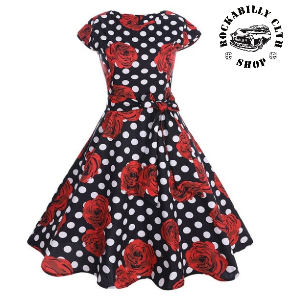 ca81699fde59 HOLKY   GIRLS - Šaty Rockabilly Retro Pin Up Samantha Dots   Roses Black