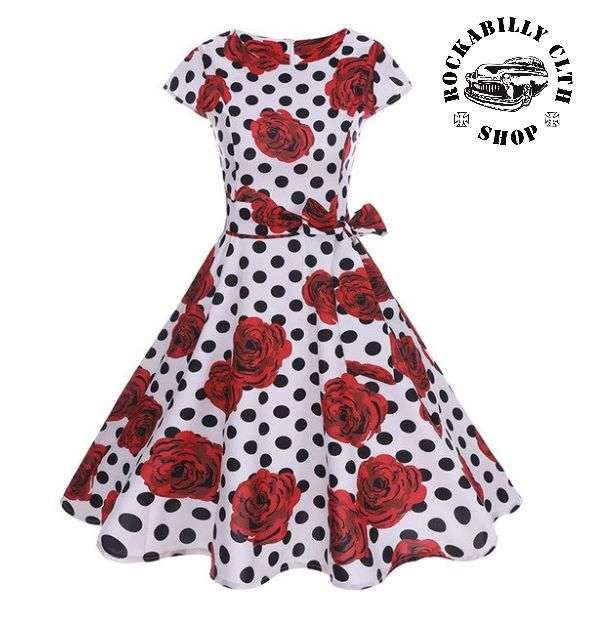 0487497b211e HOLKY   GIRLS - Šaty Rockabilly Retro Pin Up Samantha Dots   Roses White