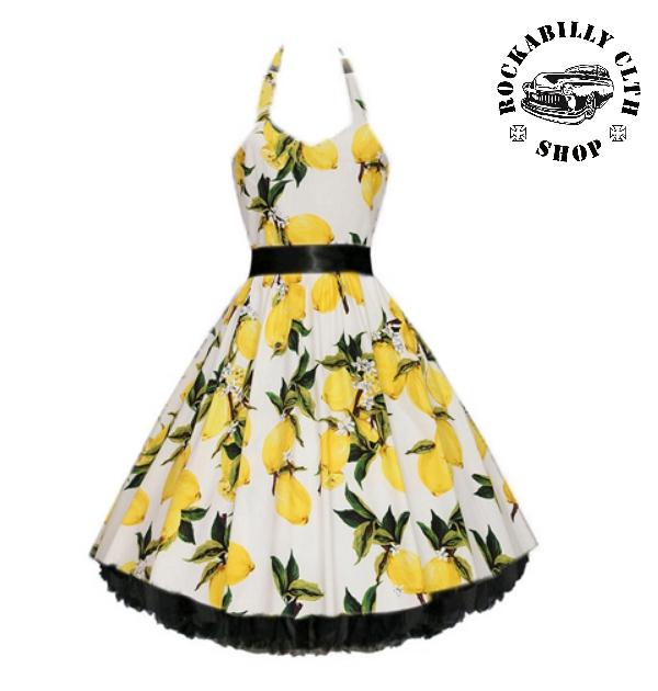 a81d3ccfe02d HOLKY   GIRLS - Šaty Rockabilly Retro Pin Up Barbara Lemon White
