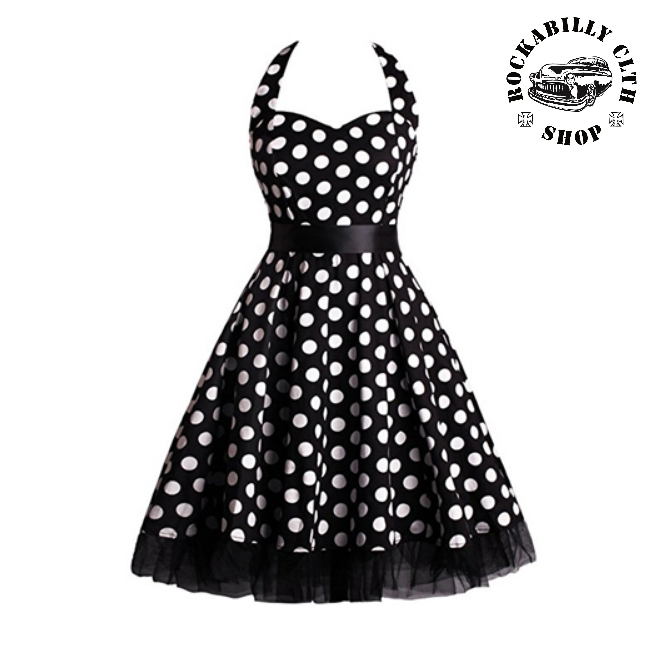 616c98a8a0a0 HOLKY   GIRLS - Šaty Rockabilly Retro Pin Up Barbara Polka Dot Blk Wht