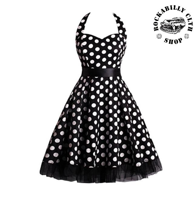 ccc5d55b7601 HOLKY   GIRLS - Šaty Rockabilly Retro Pin Up Barbara Polka Dot Blk Wht