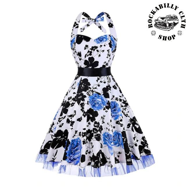 1d9fe4138885 HOLKY   GIRLS - Šaty Rockabilly Retro Pin Up Barbara Floral White