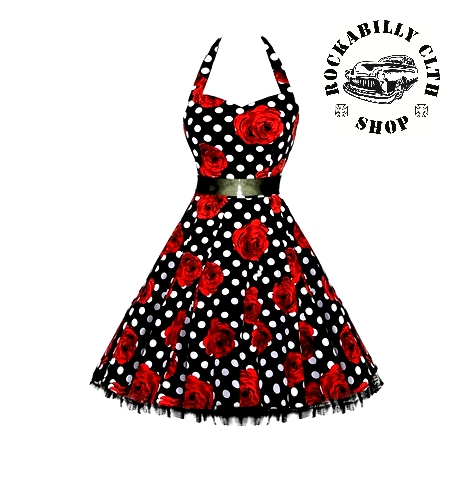 7a70372fae8e HOLKY   GIRLS - Šaty Rockabilly Retro Pin Up Barbara Polka Dot   Roses