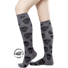 Podkolenky Sourpuss Clothing Lust For Skulls Socks Charcoal