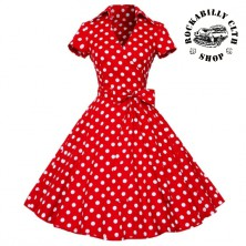 Šaty Rocka Polka Dot Short Sleeve Big Bow Red/ Wht