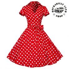 Dámské šaty Rockabilly Retro Pin Up Polka Dot Short Sleeve Big Bow Red/ Wht