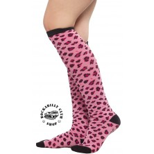 Podkolenky Sourpuss Clothing Leopard Pink