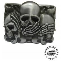 Přezka na pásek Rocka Three Skull Faces Buckle
