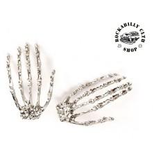 Náušnice Rocka Skull Hands Silver