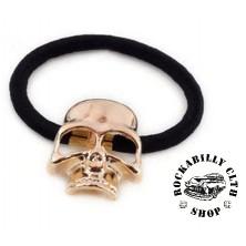 Gumička do vlasů Rocka Hairclip Skull Bronze