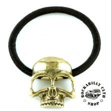 Gumička do vlasů Rocka Hairclip Skull Gold