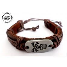 Kožený náramek Rocka Bracelet Skull & Bones
