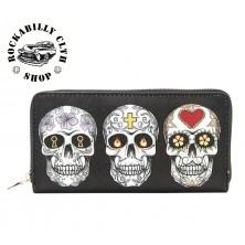 Peněženka Rocka 3 Skulls Wallet Big