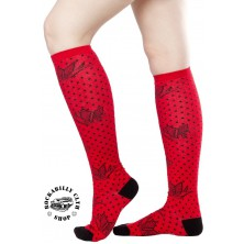 Podkolenky Sourpuss Clothing Sparrows Dots Red