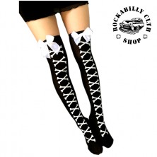 Punčochy Rocka Stockings Bones Bow