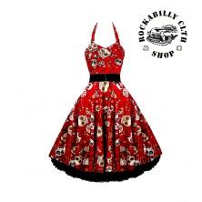 Šaty Rocka Barbara Skulls Red