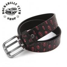 Pásek kožený Rocka Leather Belt Skull Red
