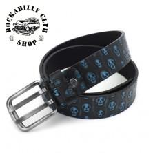 Pásek kožený Rocka Leather Belt Skull Blue