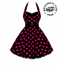 Šaty Rockabilly Retro Pin Up Barbara Polka Dot Blk/Pink