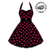 Dámské šaty Rockabilly Retro Pin Up Barbara Polka Dot Blk/Pink
