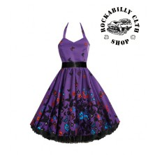 Šaty Rockabilly Retro Pin Up Barbara Butterfly Purple