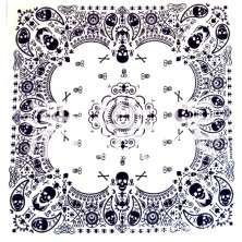 Šátek Rocka Oldschool White Black Pattern Skulls