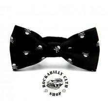 Motýlek Rocka Tiebow Skulls Black