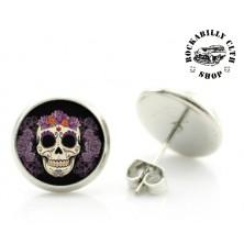 Náušnice Kulaté Rocka Round Skull & Roses